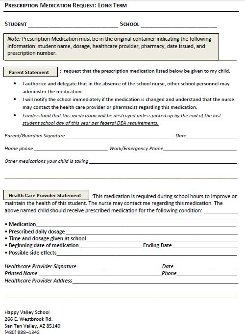 Prescription Medication Request Form  Long Term  Happy Valley