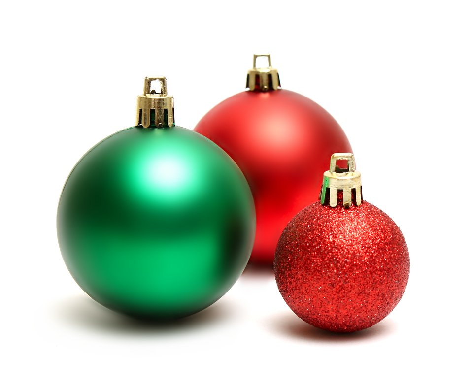 12591 green and red christmas ornaments isolated on a white background pv
