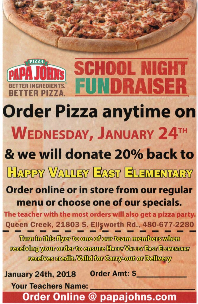 photo regarding Papa Johns Printable Menu known as PAPA JOHNS PIZZA Evening Delighted Valley Faculty East Campus